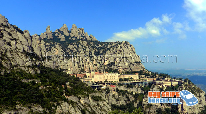 Montserrat mountain with views of Monastery and Basilica